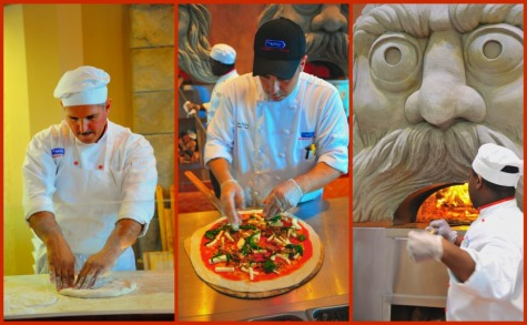 Making a pizza at Via Napoli restaurant in Epcot's Italy pavilion, Walt Disney World, Orlando, Florida.