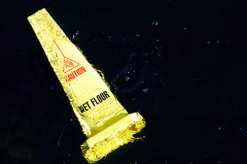 Wet Floor sign on Crescent Lake