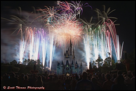 Twelve seconds of the Finale of Wishes fireworks show in the Magic Kingdom, Walt Disney World, Orlando, Florida