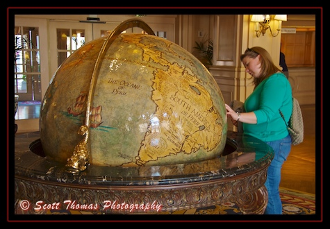 The globe in the Yacht Club lobby, Walt Disney World, Orlando, Florida