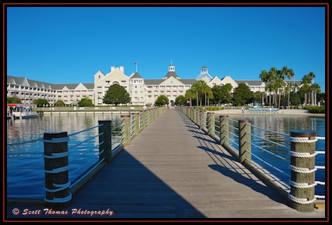 Yacht Club dock with shadow, Walt Disney World, Orlando, Florida.