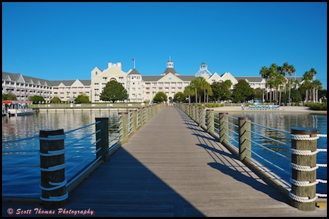The dock to the Yacht Club Resort from the lighthouse., Walt Disney World, Orlando, Florida