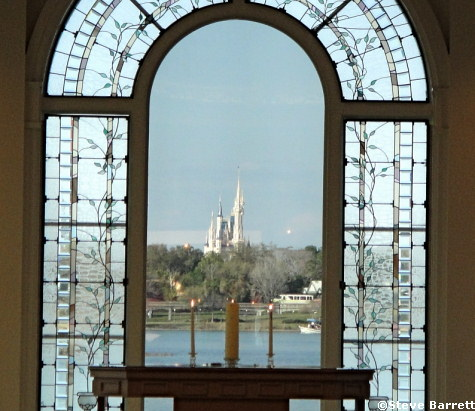 View of Cinderella Castle via Grand Floridian Wedding Chapel
