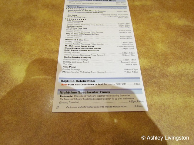 Disney's Hollywood Studios Times Guide
