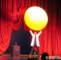 Freddie Fusion puts himself inside the big yellow ball!