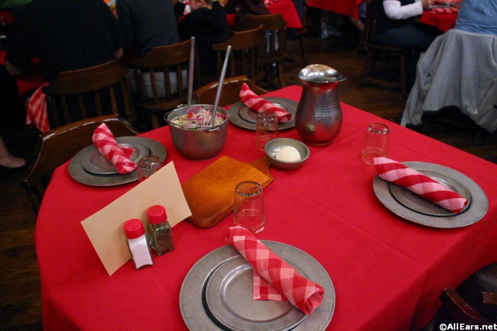 Table Setting with Salad and Corn Bread