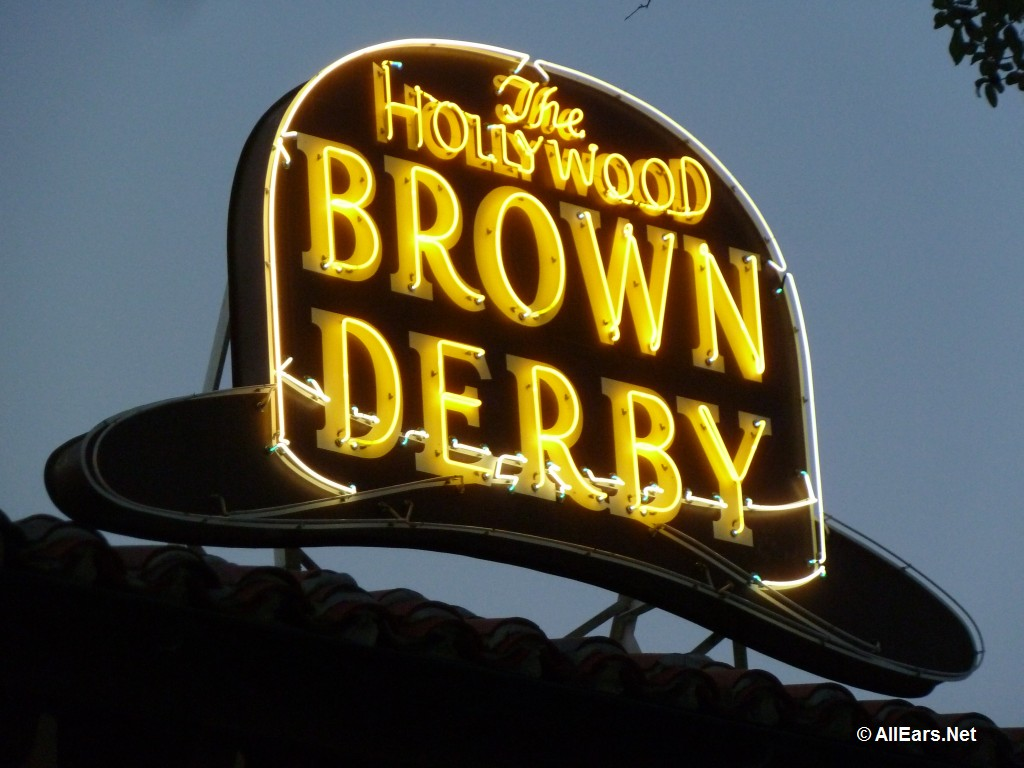 Brown Derby Sign at Night