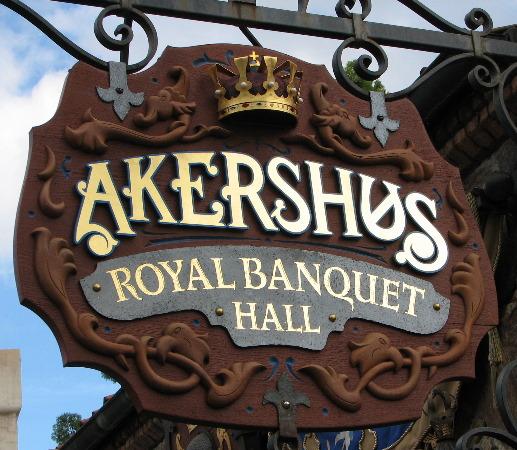 Placa que indica a entrada do Akershus Royal Banquet Hall. Foto: Divulgação/Allears