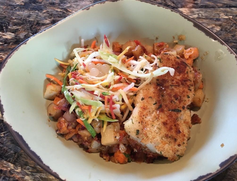 Fish with Sweet Potato Hash