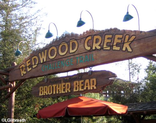 Redwood Creek Challenge  Trail  Grizzly Peak Recreation Area  Disney California Adventure Redwood Creek Challenge Trail Sign