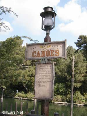 Davy Crockett's Explorer Canoes  Critter Country Disneyland Davy Crockett Canoes Sign