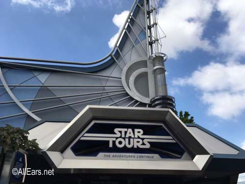 Star Tours - The Adventures Continue  Tomorrowland Disneyland Star Tours Entrance