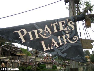 Pirate's Lair on Tom  Sawyer Island  Frontierland  Disneyland Pirate's Lair sign