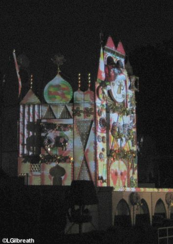 Holiday projections on small world facade