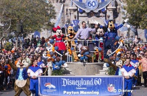 Manning Celebrates Super Bowl Win at Disneyland