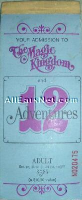 Magic Kingdom Ticket Book 1972
