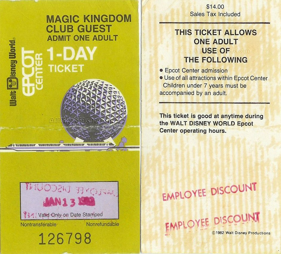 Epcot Center 1982 Ticket