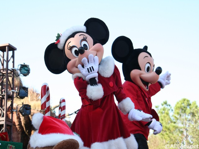 Minnie and Mickey in the Christmas Parade