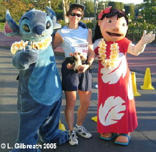 Laura Gilbreath with Lilo and Stitch at the 2005 Half-Marathon