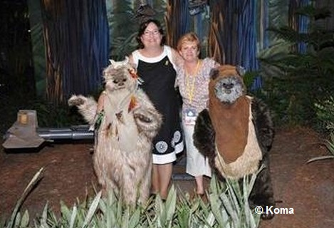 Posing with Ewoks at Star Tours