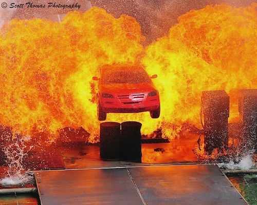 Lights Motors Action Stunt Show Car in Flames