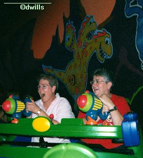 Linda and Sandy on Buzz Lightyear Space Ranger Spin