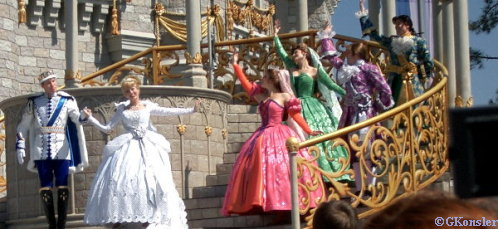 Cinderella waves to the guests