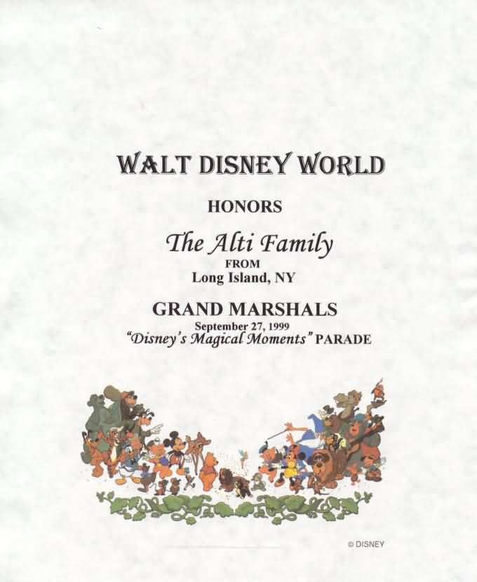Grand Marshal Certificate