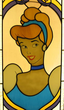 Stained Glass of Cinderella in Castle Stairway