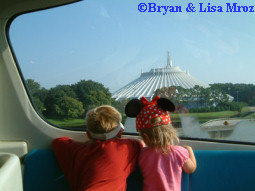 Kids Approaching Space Mountain from Monorail
